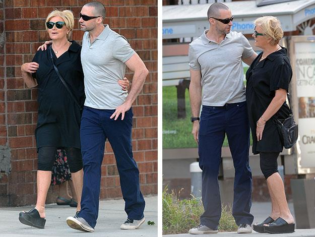 Hugh was then seen walking the streets of New York with Deborra-Lee showing off his newly shaved head.
