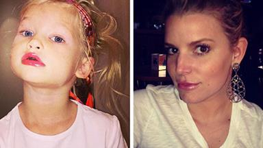 Jessica Simpson's daughter tries mummy's make-up
