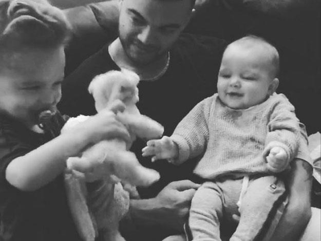 Guy Sebastian shared this adorable moment when his two-year-old son Hudson was making newborn Archer giggle like crazy!