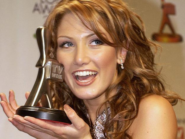 Delta Goodrem is all smiles in the media room for the 45th annual TV Week Logie Awards 2003.