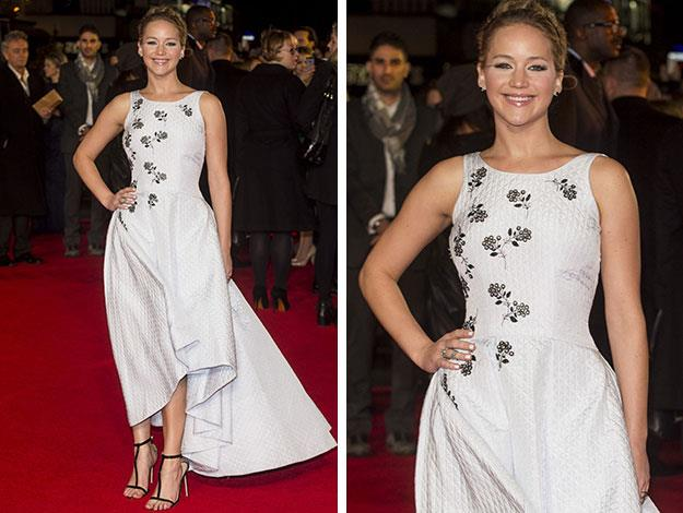 Jennifer Lawrence wowed in a white Dior gown at the world premiere of The Hunger Games Mockingjay: Part 1 in London.
