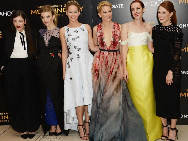 The bevvy of Hunger Games beauties from left to right: Lorde (who wrote the theme song), Natalie Dormer, Jennifer Lawrence, Elizabeth Banks, Jenna Malone and Julianne Moore.