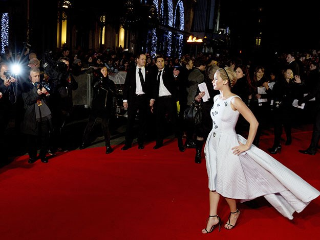 Jennifer Lawrence - owning the red carpet - even without her rumoured beau, Chris Martin, on her arm.