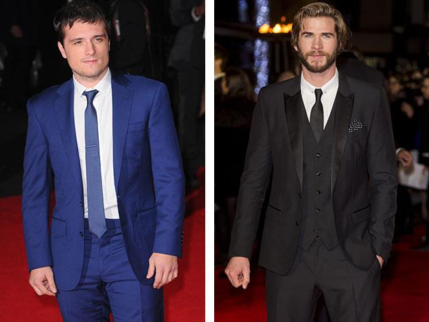 The movie's two leading men. Liam Hemsworth (right) and Josh Hutcherson (left) who has been struck down with illness and forced to miss many of the publicity events for the new film, but managed to attend the world premiere in London!