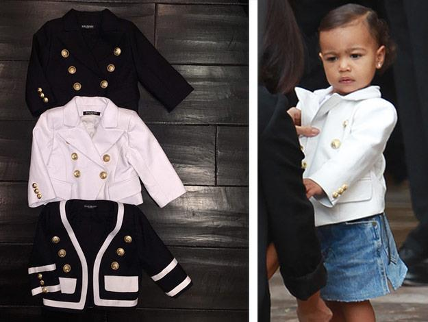 North West shows off one of her three custom made blazers. Not bad for a one-year-old!