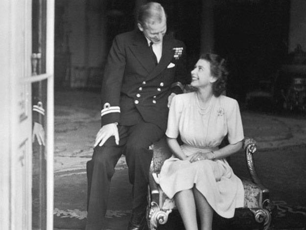The Queen and Prince Philip looking lovingly at each other during their first official photoshoot as a couple.
