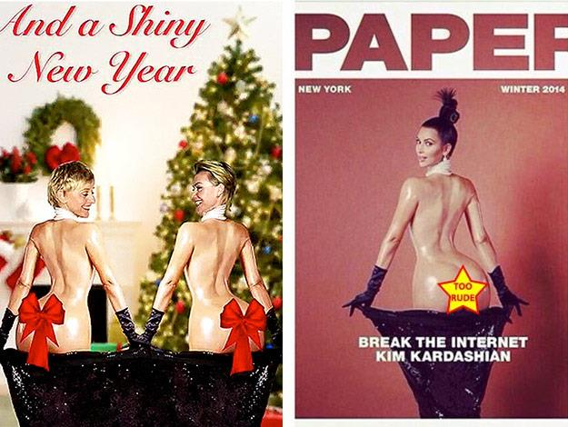 Ellen DeGeneres and her wife Portia de Rossi have poked fun at Kim's now infamous naked Paper Magazine cover, by designing a Christmas card inspired by the Keeping Up With the Kardashian star.