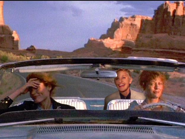Ellen looks right at home on set of Thelma and Louise.