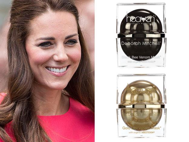 Duchess Catherine uses the bee venom mask by Heaven in black and gold which serves as a natural, non-invasive facelift that cleanses and tightens skin. It also has a rather royal price tag at approx $316 for the black and $684 for the gold!
