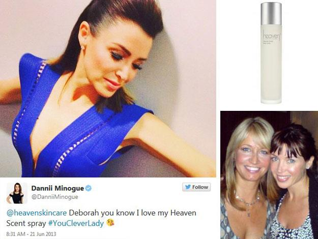"Deborah says that Australia's own Dannii Minogue, 43, "" is probably my super favourite client."" The pop star reportedly loves the whole line of Heaven beauty products but is particularly fond of the fragrance."