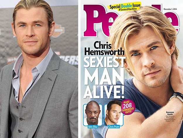 "Thor star Chris Hemsworth was named Sexiest Man Alive in 2014. Of his win he joked: ""I think you've bought me a couple of weeks of bragging rights around the house.I can just say to her [wife, Elsa], 'Now remember, this is what the people think, so I don't need to do the dishes anymore, I don't need to change nappies. I'm above that. I've made it now.'"""