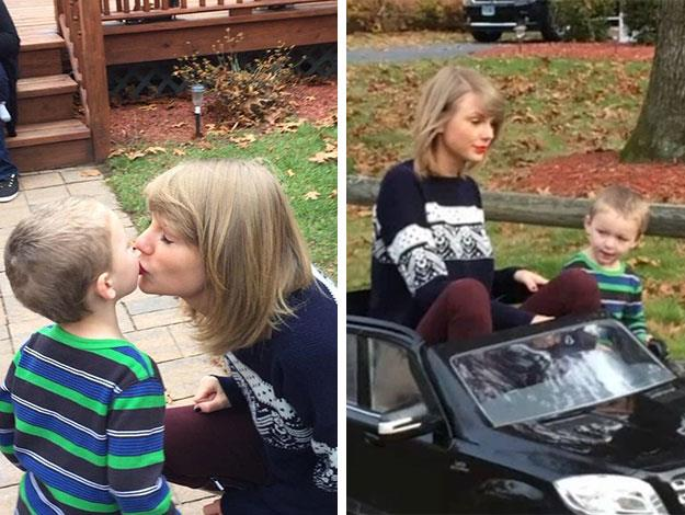 Taylor made a surprise stop in suburban Connecticut where she gifted a surprised young toddler with a personally delivered toy car!