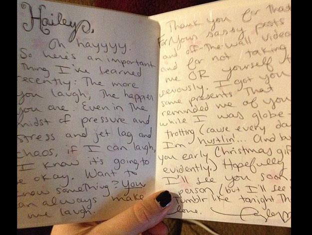 Perhaps most impressive though were Taylor's handwritten notes that accompanied every gift