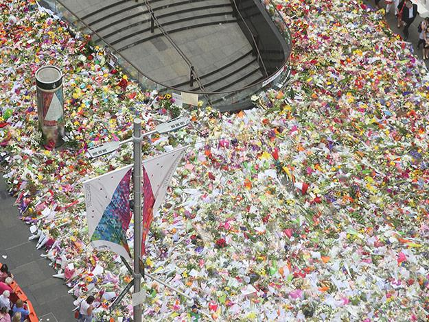 A beautiful sight! Floral tributes continue to pour in and fiill the streets of Martin Place.