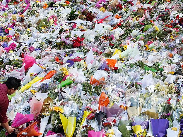 A sea of floral tributes at Martin Place.