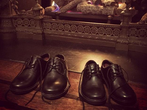Elton and David's sons served as ring bearers for the event. Elton took this shot of their little shoes the night before the wedding!