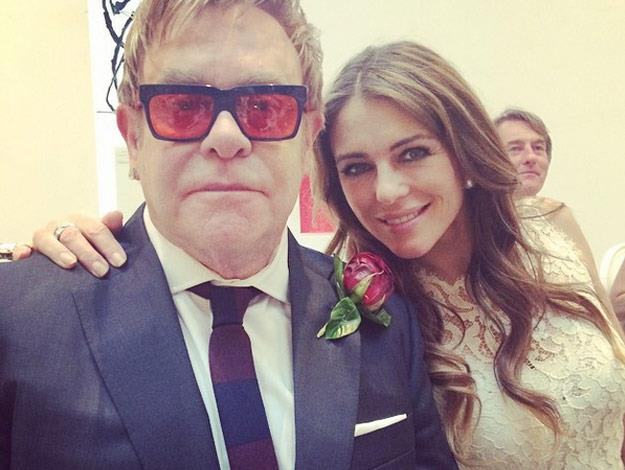 Celebrity guests included Elton's long time friend Elizabeth Hurley.