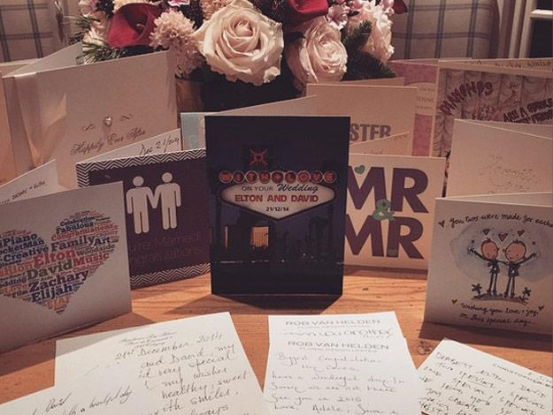 Elton shared this photo of the pair's wedding cards and well wishes!
