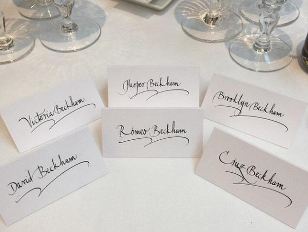 Brooklyn Beckham shared a snap of place settings for this whole family.