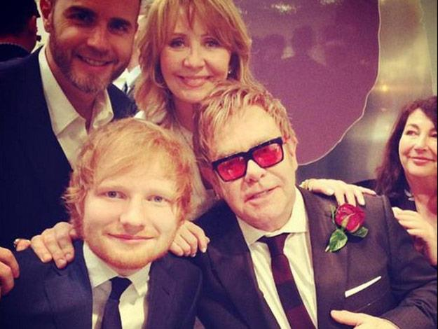 Elton posed with his guests including Ed Sheeran.