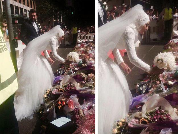Muslim bride Manal Kassem laid her wedding bouquet on the sea of floral tributes to the victims of the siege victims on Sunday.