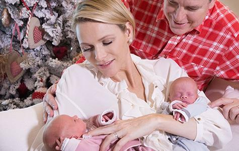 Princess Charlene, Prince Albert and their twins.
