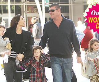 James Packer greets Erica and their three kids at Sydney airport.