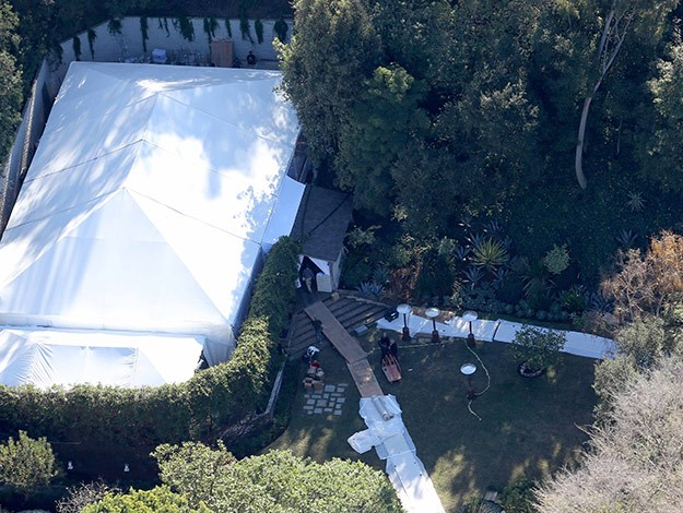 The huge marquee being set up in Cameron Diaz's backyard ahead of her wedding to Benji Madden.