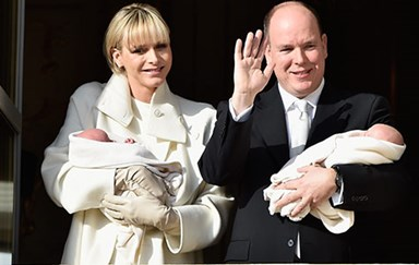 Prince Albert and Princess Charlene present Monaco twins