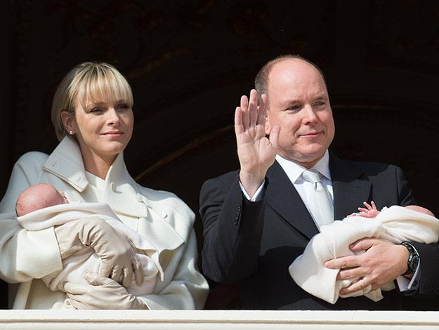 Crowds gathered outside the palace in Monaco to catch the first glimpse of the royal twins.