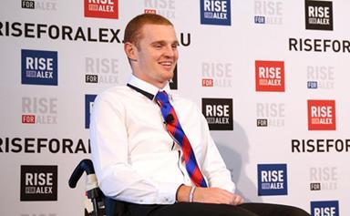 Alex McKinnon stands up on his own