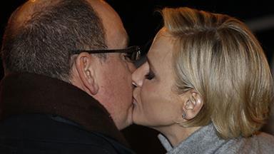 Princess Charlene and Prince Albert share a kiss!