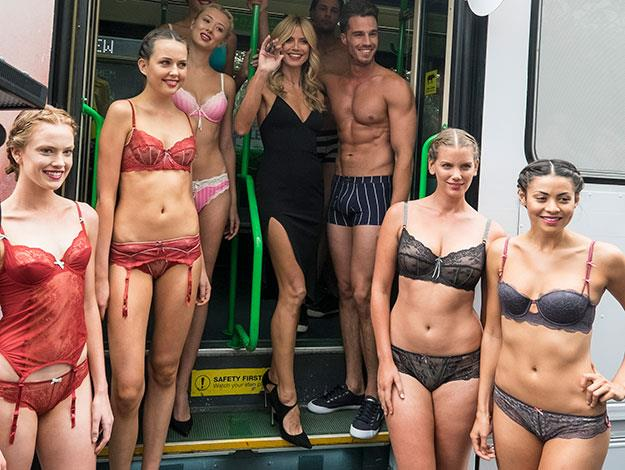 Then, it was time to work for the business-minded multi-millionaire model who headed to Melbourne where she arrived by the very special 'Heidi Express' Melbourne tram to launch her new lingerie line at Myer in the city centre.