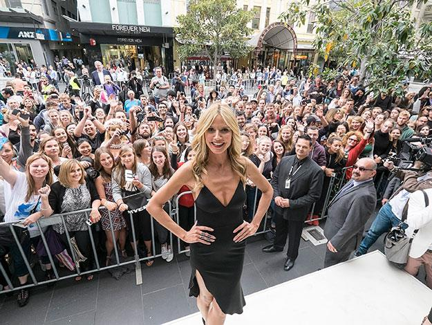 The German-born supermodel brought Melbourne's super-crowded Bourke Street Mall to a standstill as she made her appearance.