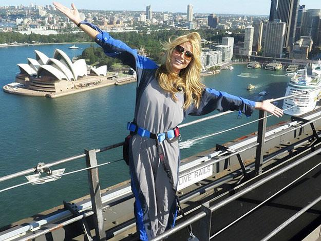 Heidi climbed to the top of Sydney Harbour Bridge in the mandatory grey jumpsuit - just like any other tourist.
