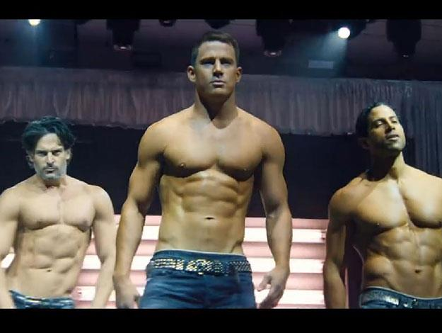 Joe Manganiello can be seen on the left, behind Channing. He previously admitted to practising his stripper moves on fiancee and Modern Family star Sofia Vergara - it obviously paid off!