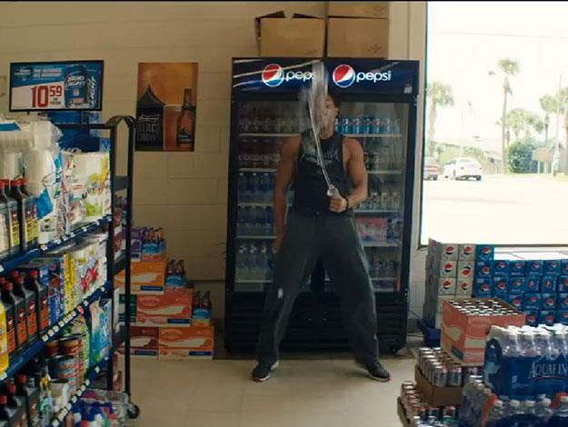 The hunky Joe Manganiello has a rather 'explosive' moment in the middle of a supermarket....for reasons unknown (but it's pretty great anyway).