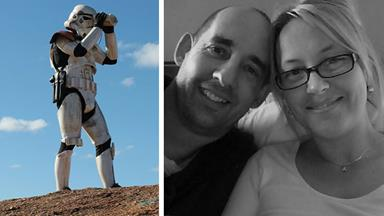 Wacky Star Wars love: Why this new bride let her Stormtrooper hubby go walkabout for two years!