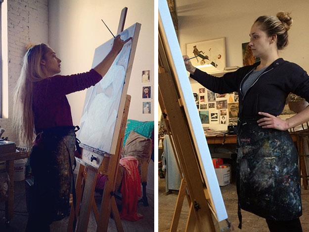Liv posted these snaps of fellow mum Jemima working on her portrait as she sat for her.