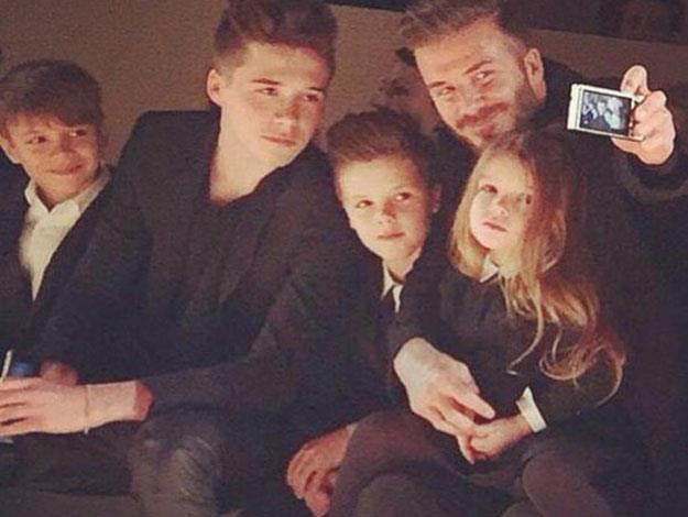 David Beckham had fun snapping selfies with Harper and the boys.