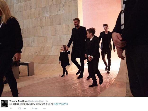 Victoria Beckham shared her excitement at having her family attend the show.