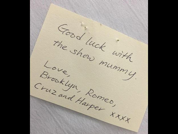 Victoria also shared this snap of the adorable note her children sent her to wish her luck.