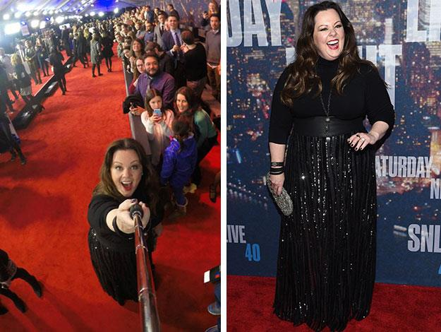 Melissa McCarthy looked stunning as she had fun with a selfie-stick and showed off her amazing weight loss on the red carpet.