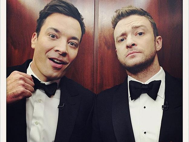 Old pals Jimmy Fallon and Justin Timberlake strike a pose in the lift on the way upto the show!