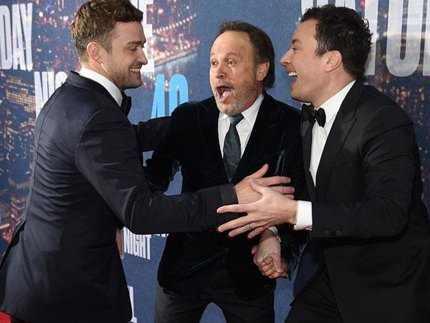 Funny men Billy Crystal and Jimmy Fallon joke around with Justin Timberlake.