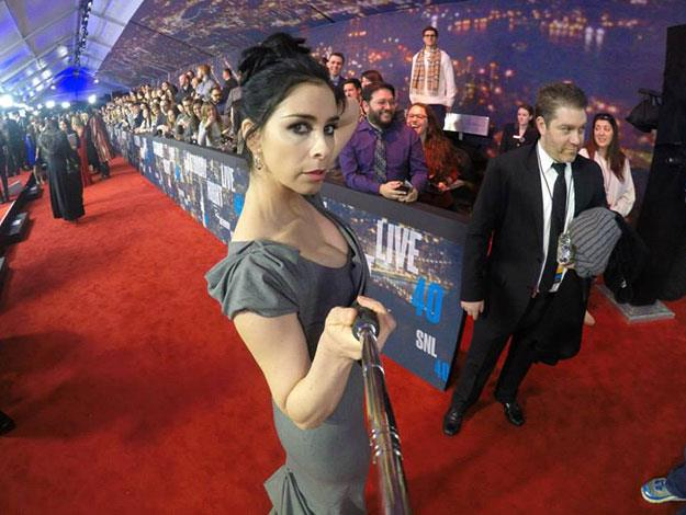 Funny Lady Sarah Silverman strikes a pose with the selfie stick.