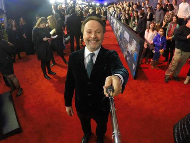 Comedy legend Billy Crystal has a go at the selfie stick.