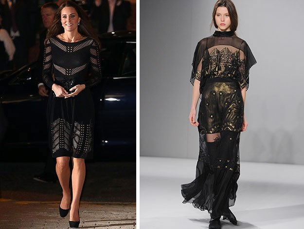 Another favourite label of the Duchess's, Temperley London, showed this semi-sheer floor-length gown which could suit the Duchess for a glam evening event.