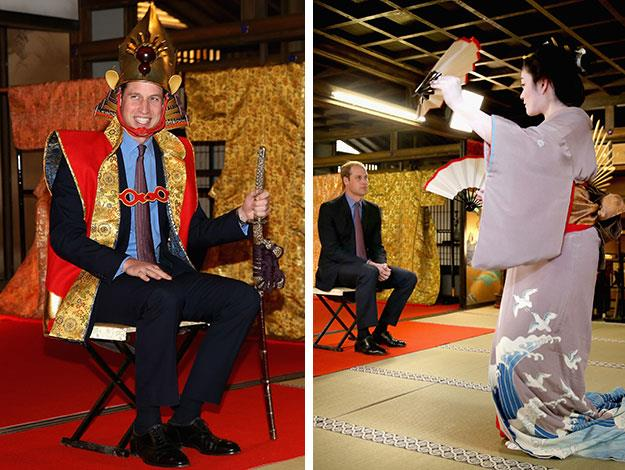 While touring Japan, Prince William dressed up as notorious historical Samurai warlord Toyotomi Hideyoshi and was treated to traditional dance performance.