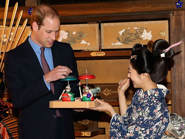 """The prince was visiting the set of Taiga – a long-running Japanese television drama. He declined the opportunity to don a traditional Samurai wig featuring a large bald spot though as he said his cheeky brother Prince Harry """"would never let him forget it!"""""""